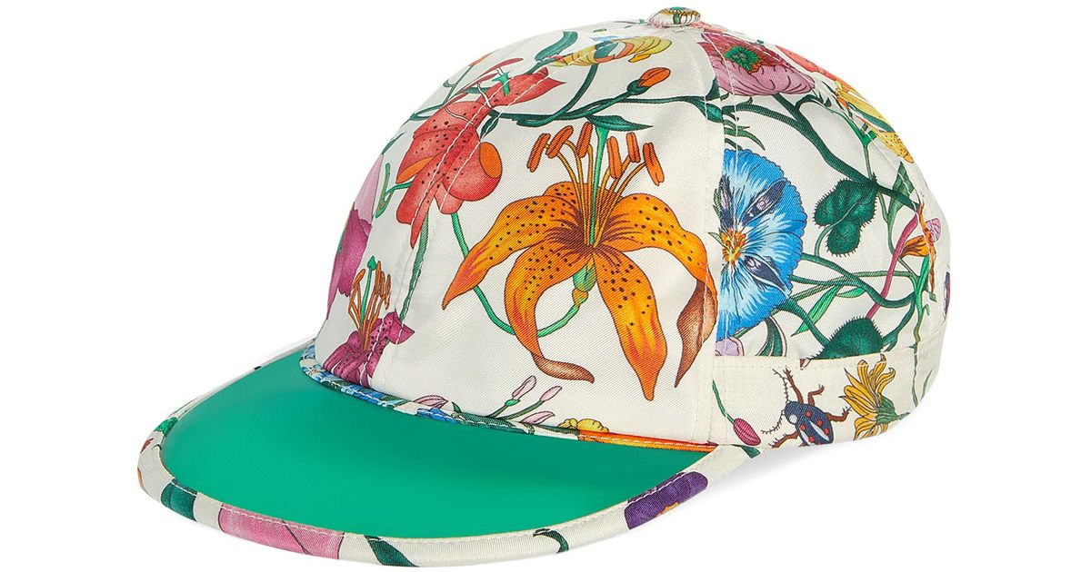 24c9b4e281b2 Lyst - Gucci Flora Print Silk Hat in Green for Men
