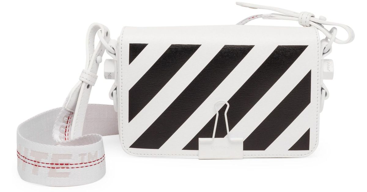 2600753e944f Off-White c o Virgil Abloh Mini Striped Flap Crossbody Bag With Binder Clip  in White - Lyst