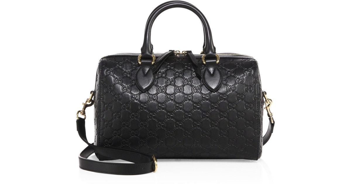 59b33265ef3c Gucci Medium Soft Signature Leather Boston Bag in Black - Lyst