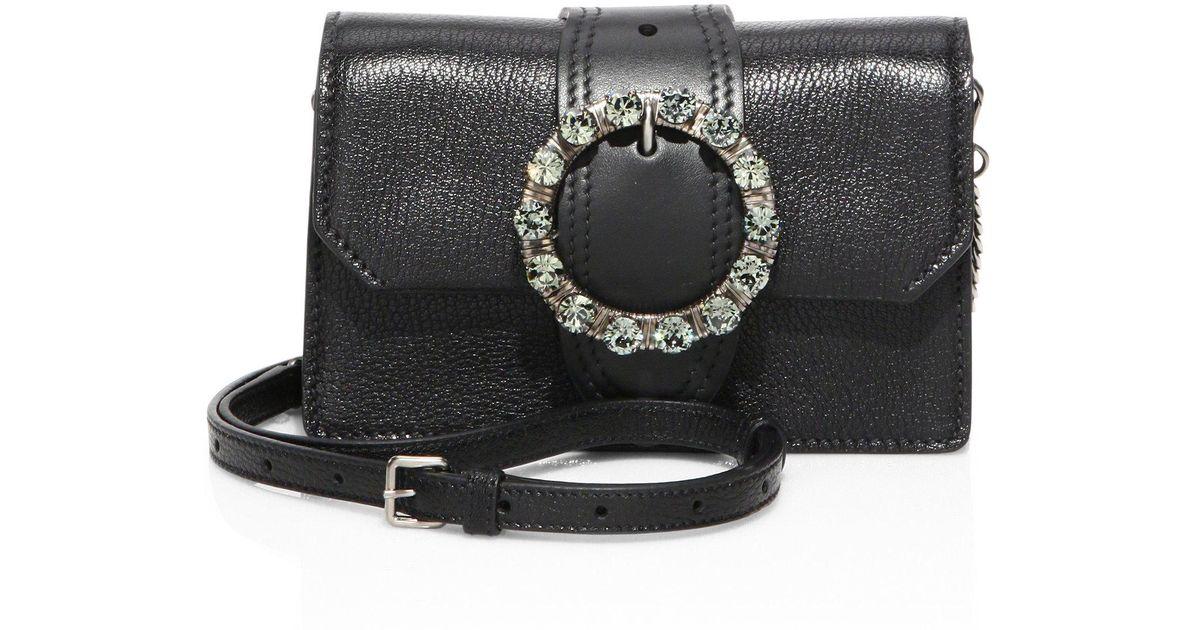Lyst - Miu Miu Jeweled Leather Crossbody Bag in Black 66ec813b477ec