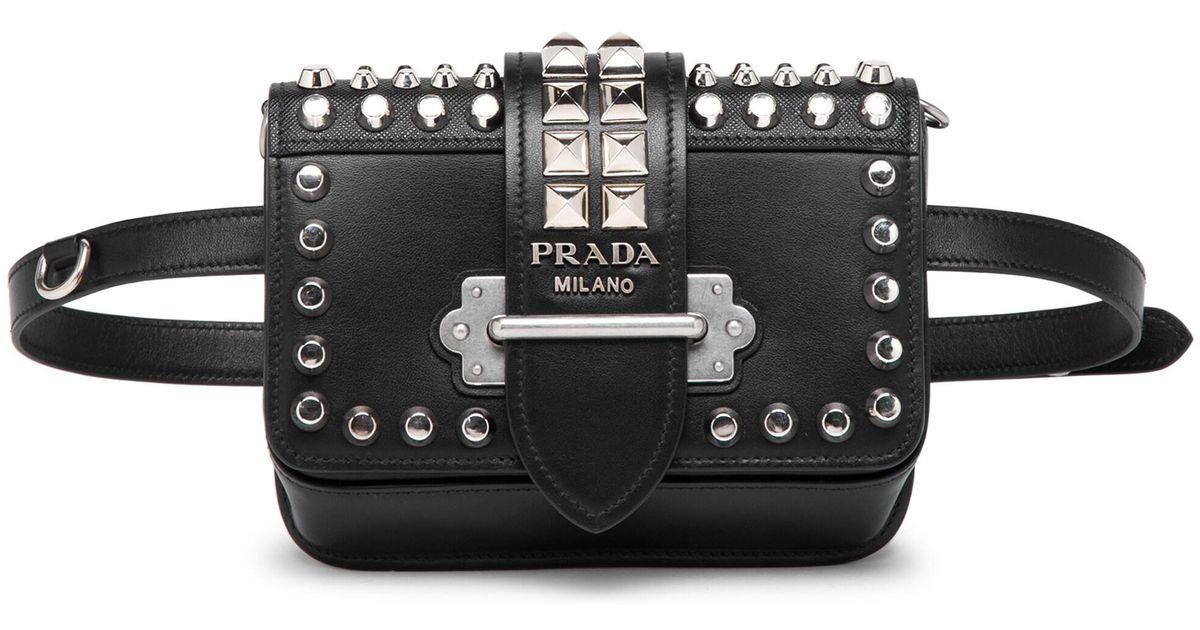 a0d521d7b1ab Prada Women's Medium Cahier Studded Leather Belt Bag - Black in Black - Lyst