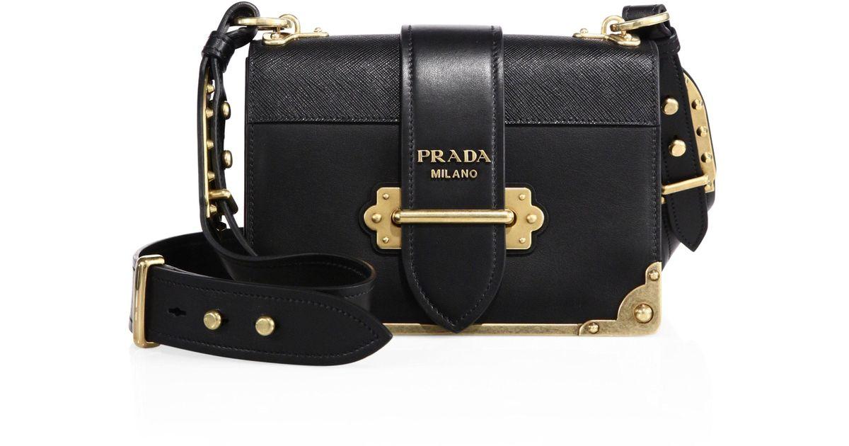 0413412a3095 ... czech lyst prada cahier notebook leather shoulder bag in black 9c3db  dde48