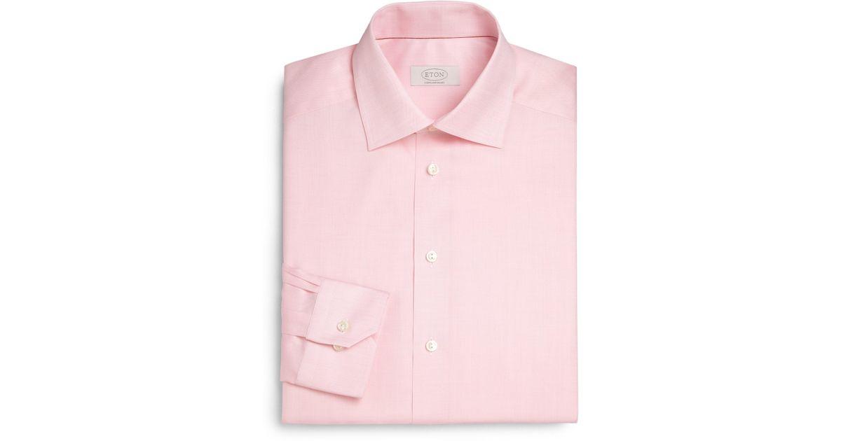 Lyst eton of sweden contemporary fit herringbone dress for Pastel pink dress shirt