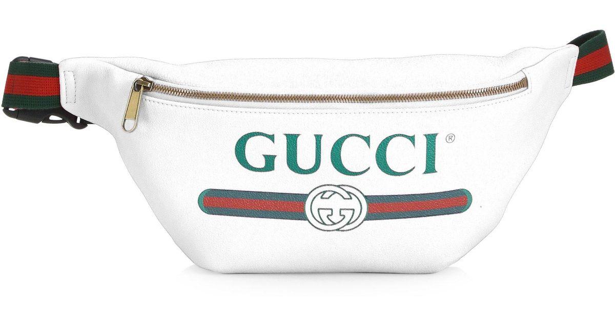 b02300d8709 Lyst - Gucci Logo Belt Pocket Bag in White