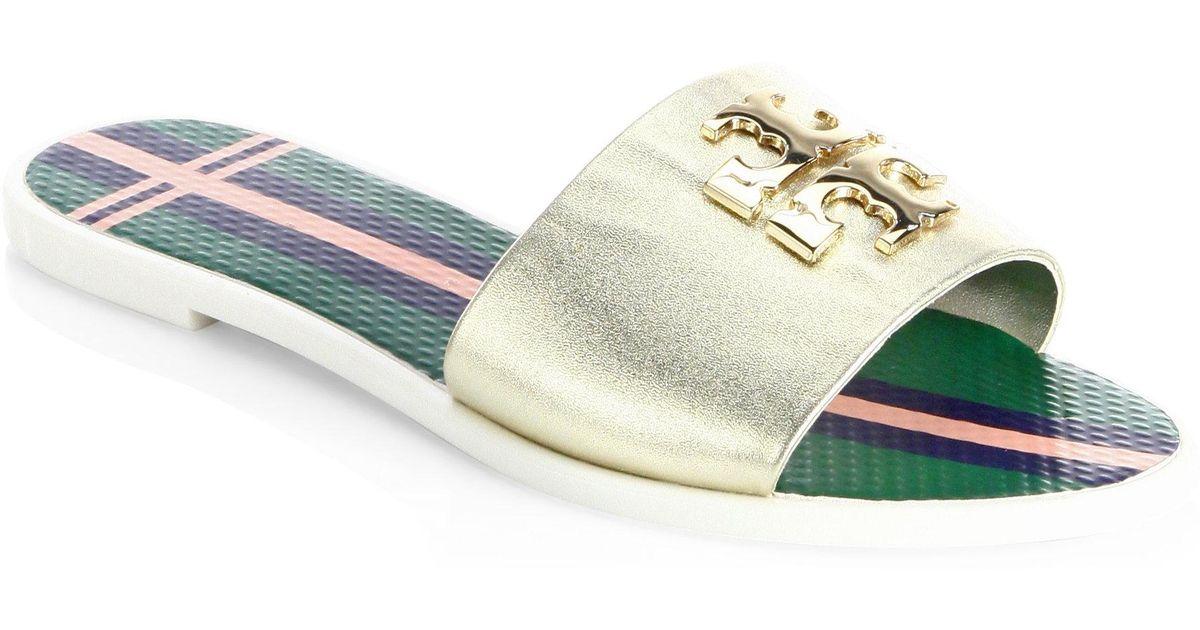 6e4628b19 Lyst - Tory Burch Logo Leather Jelly Slide Sandal in Metallic