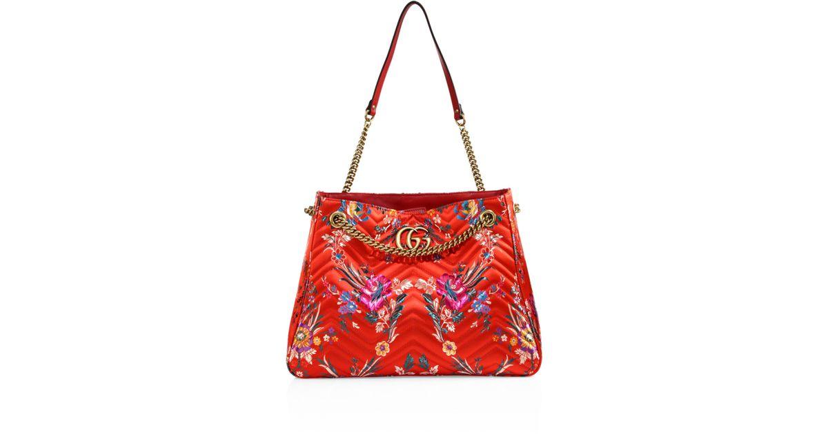 455e838073f Lyst - Gucci Medium GG Marmont Matelassé Floral Jacquard Chain Shoulder Bag  in Red