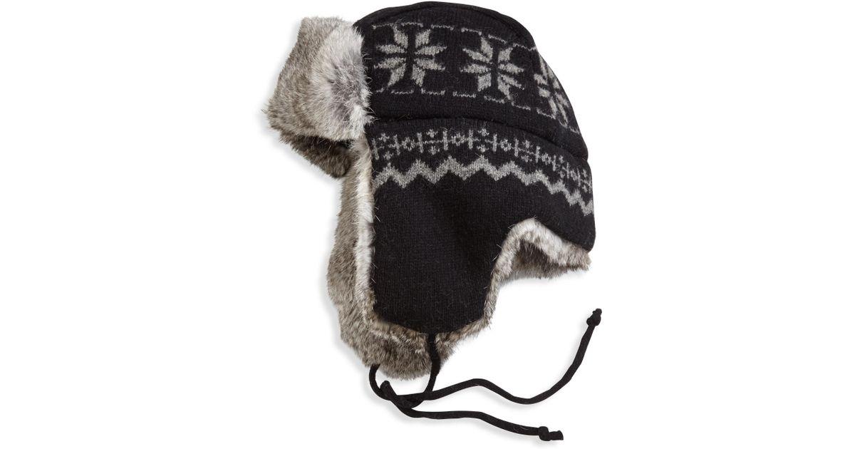 96f3d0f6694 Lyst - Crown Cap Snowflake Aviator Hat in Black