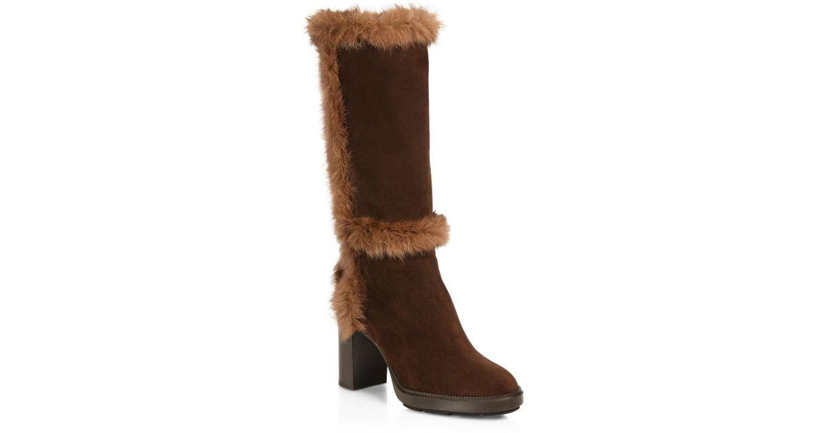 c89e441986b Lyst - Aquatalia Imelda Shearling   Suede Mid-calf Boots in Brown