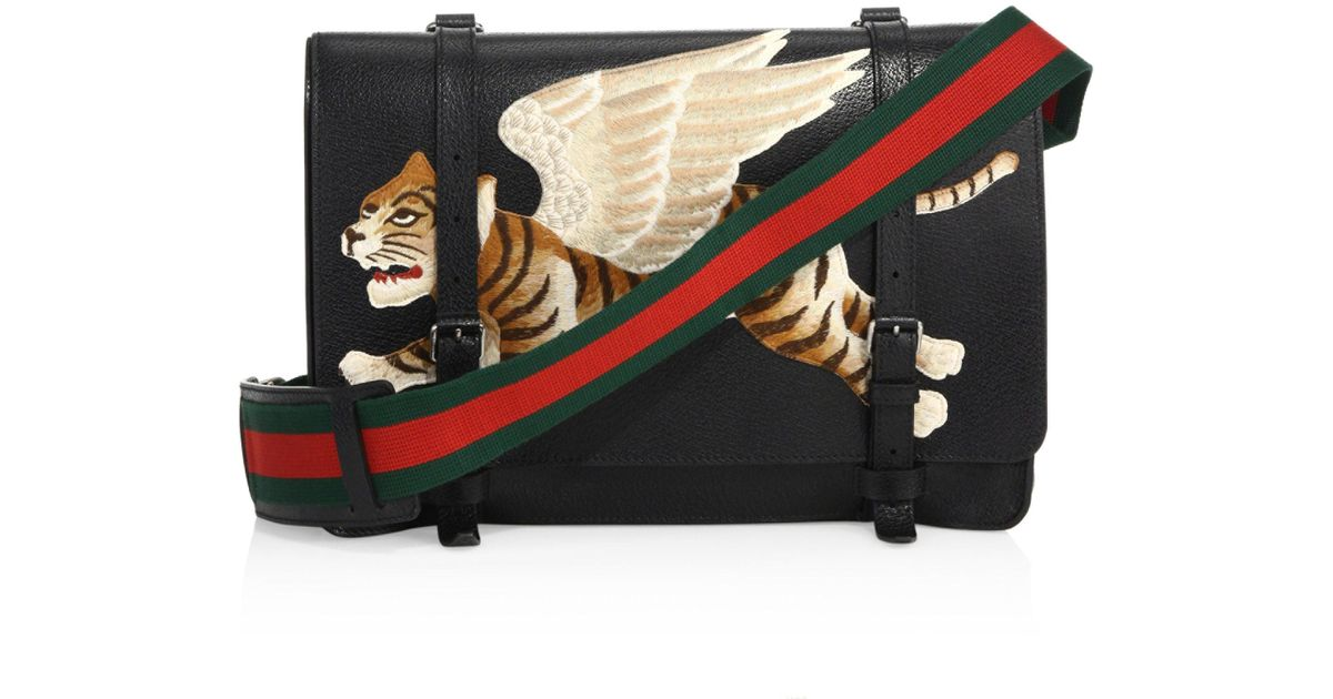 e5d0500aa2a610 Gucci Leather Messenger Bag With Tiger Appliqué in Black for Men - Lyst