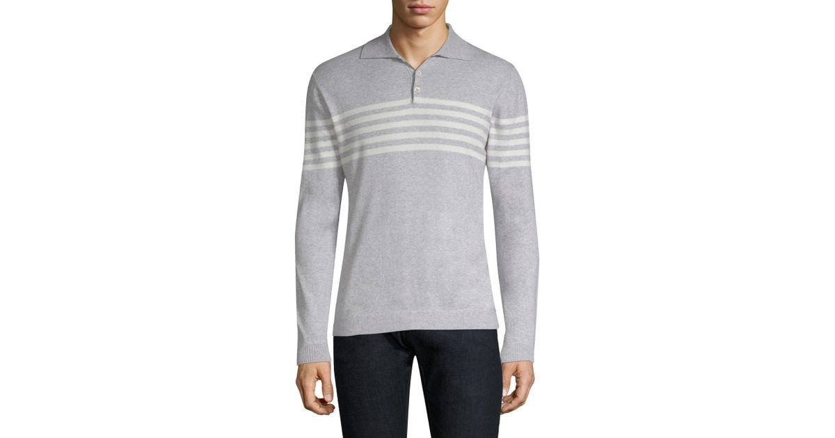 Eleventy Gray Striped Long Sleeve Polo Lyst