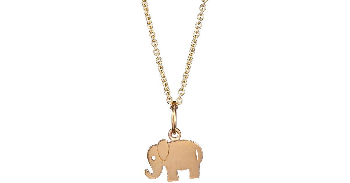 Lyst sydney evan 14k yellow gold elephant pendant necklace in metallic aloadofball Choice Image