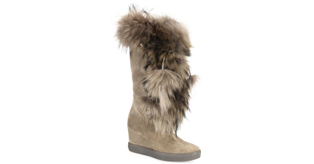 3b41b1f7ee18 Aquatalia Colette Suede, Raccoon Fur and Shearling Wedge Boots in Brown -  Lyst