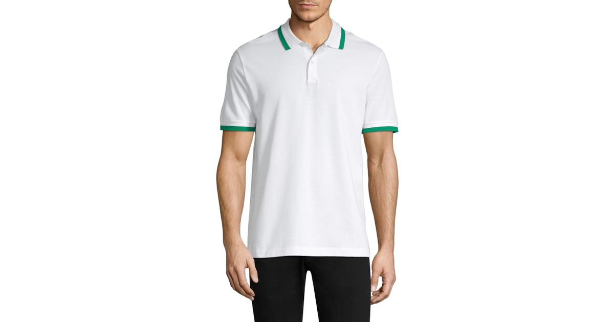 c335e929990 Lyst - Theory Bold Stripe Pique Polo in White for Men