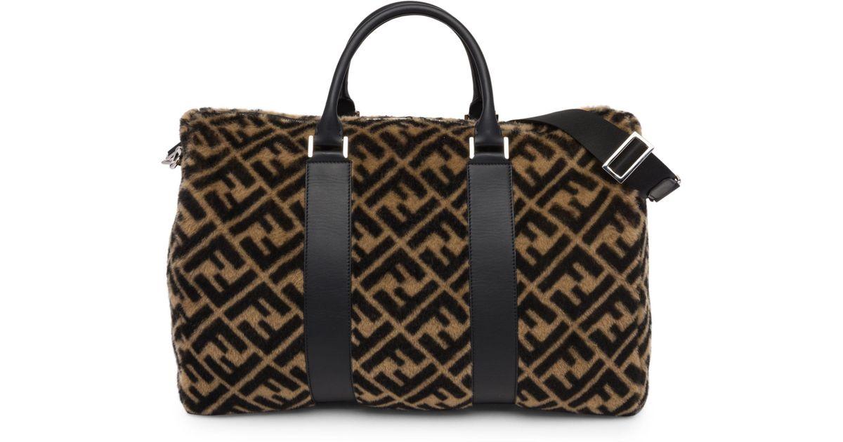 Fendi Shearling Logo Duffle Bag for Men - Lyst a5033ded474