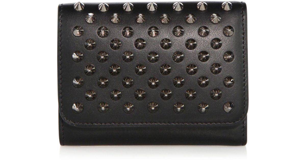 450ebc0928a Christian Louboutin - Black Macaron Mini Studded Leather Wallet - Lyst