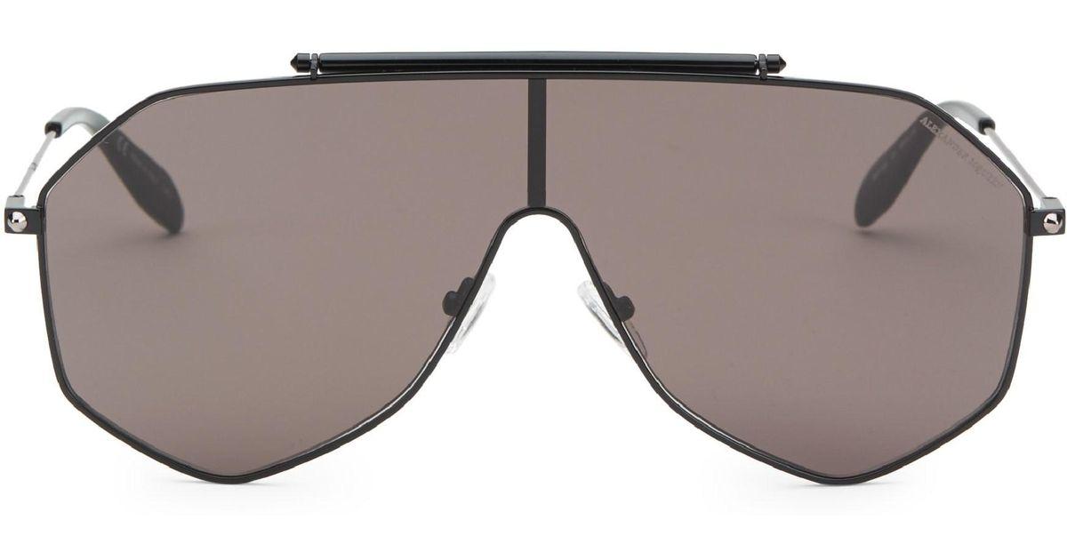 511dde2678b Lyst - Alexander McQueen 99mm Aviator Shield Sunglasses in Black for Men
