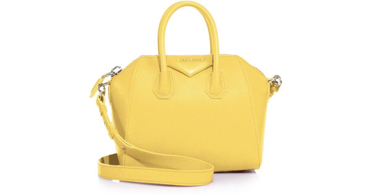 Lyst - Givenchy Antigona Mini Leather Satchel in Yellow bd3118d0c8f31
