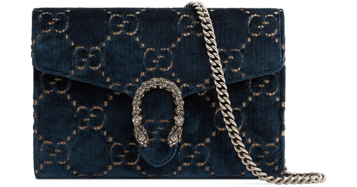 2937cdd30c8 Lyst - Gucci Dionysus Velvet GG Supreme Wallet On Chain in Blue