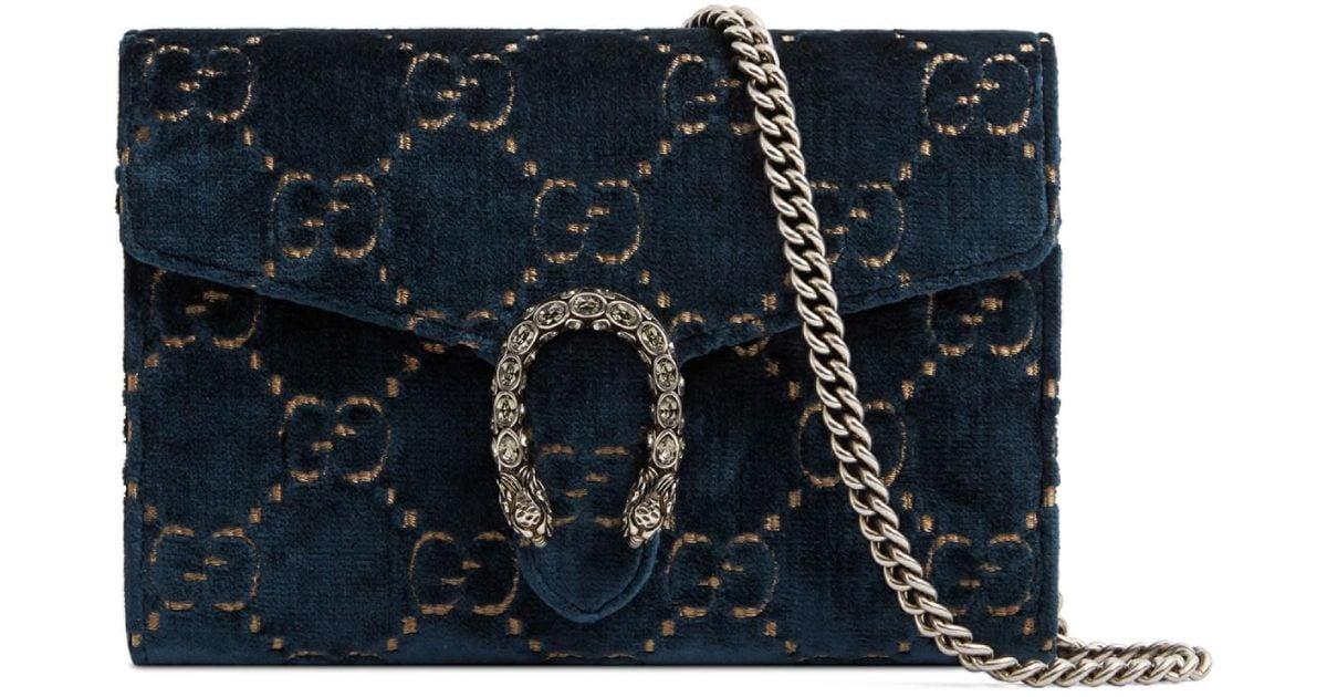 5a39e3e27a11 Gucci Women's Mini Dionysus Velvet Chain Wallet - Black in Blue - Lyst