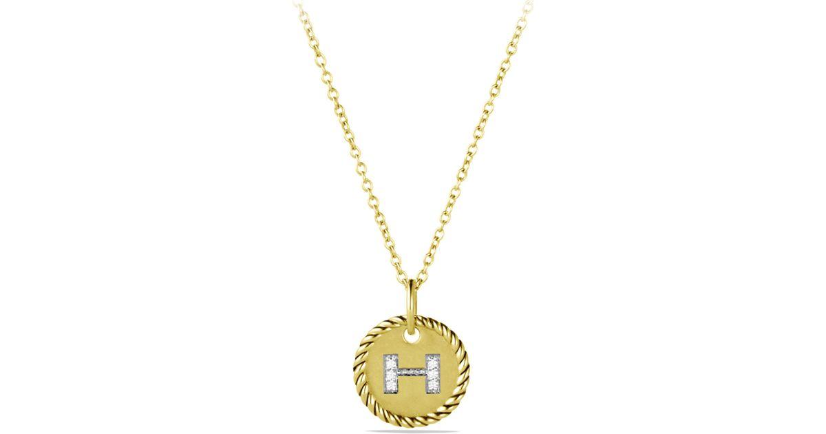 Lyst david yurman initial pendant with diamonds in gold on chain lyst david yurman initial pendant with diamonds in gold on chain in metallic aloadofball Choice Image