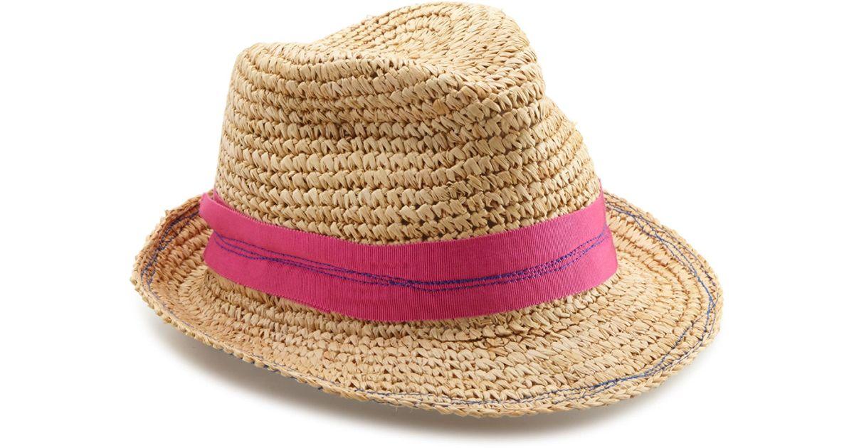 8576f0886 Lola Hats - Pink Tarboush Raffia Fedora - Lyst