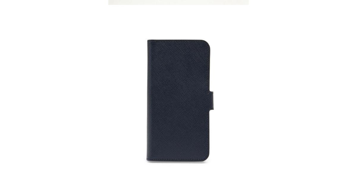 e8ff0b2bfefd Prada Saffiano Leather Iphone 7 Case in Blue - Lyst