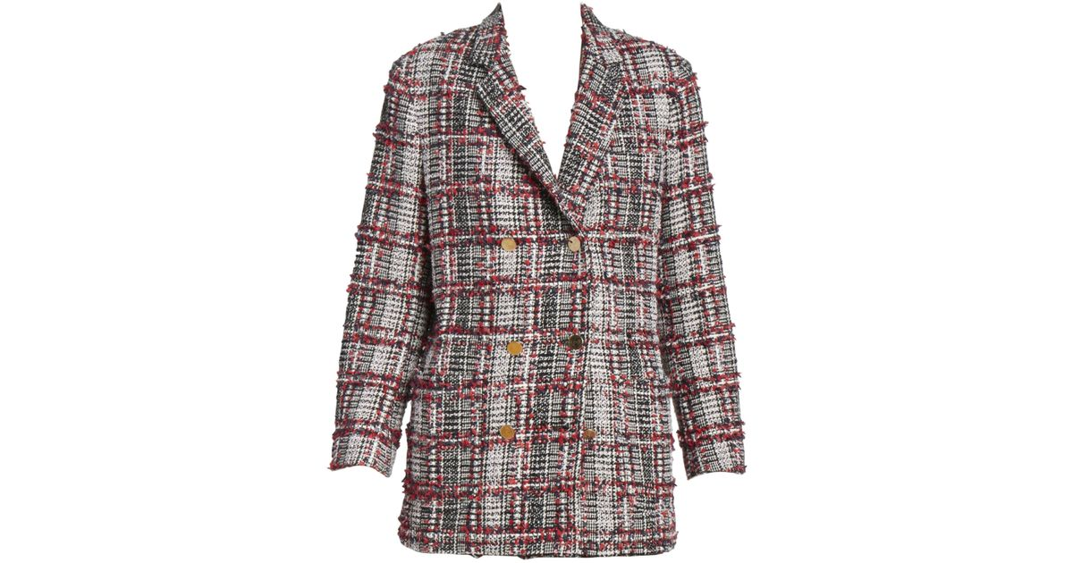 9d21963c205 Thom Browne Women's Double Breasted Tweed Wool-blend Sack Jacket - Red White  Blue - Lyst