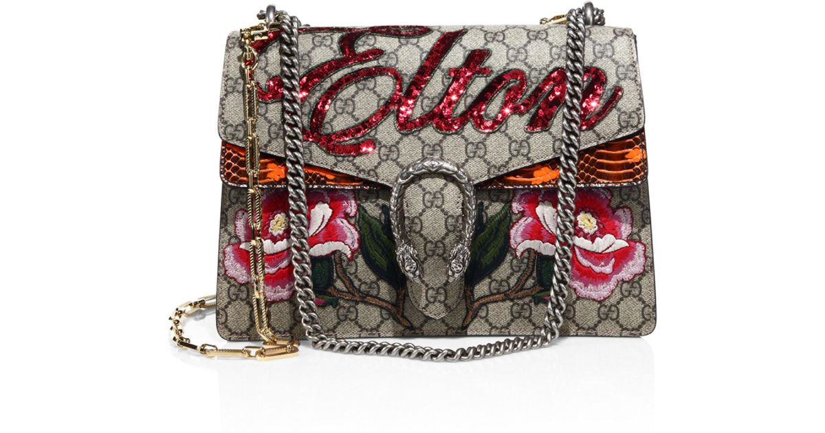 482fd7b279f Lyst - Gucci Elton Embroidered Gg Chain Shoulder Bag