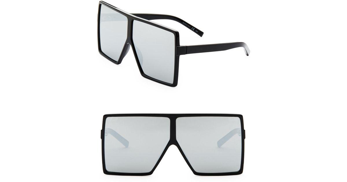 b85a8f726e8a Saint Laurent Sl 183 Betty 68mm Oversize Mirrored Shield Sunglasses in  Black - Lyst