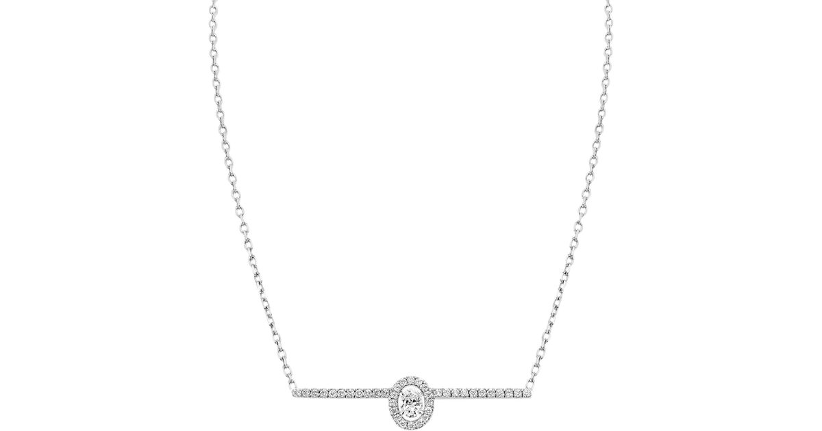 665f2d78e39f91 Messika Glam'azone Diamond Pavé & 18k White Gold Necklace in Metallic - Lyst