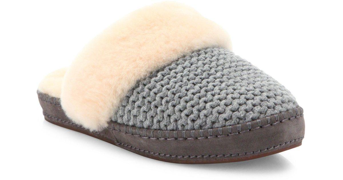 a80e999675d Ugg - Gray Aira Knit Slippers - Lyst