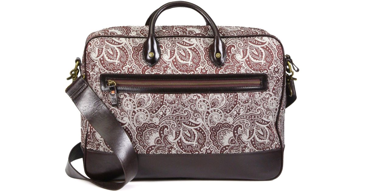 e6bfb212ce47 Robert Graham Everett Leather-trimmed Paisley Fabric Briefcase in Brown for  Men - Lyst