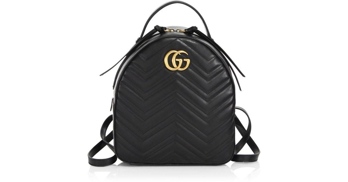 Lyst - Gucci GG Marmont Chevron Quilted Leather Mini Backpack in Black