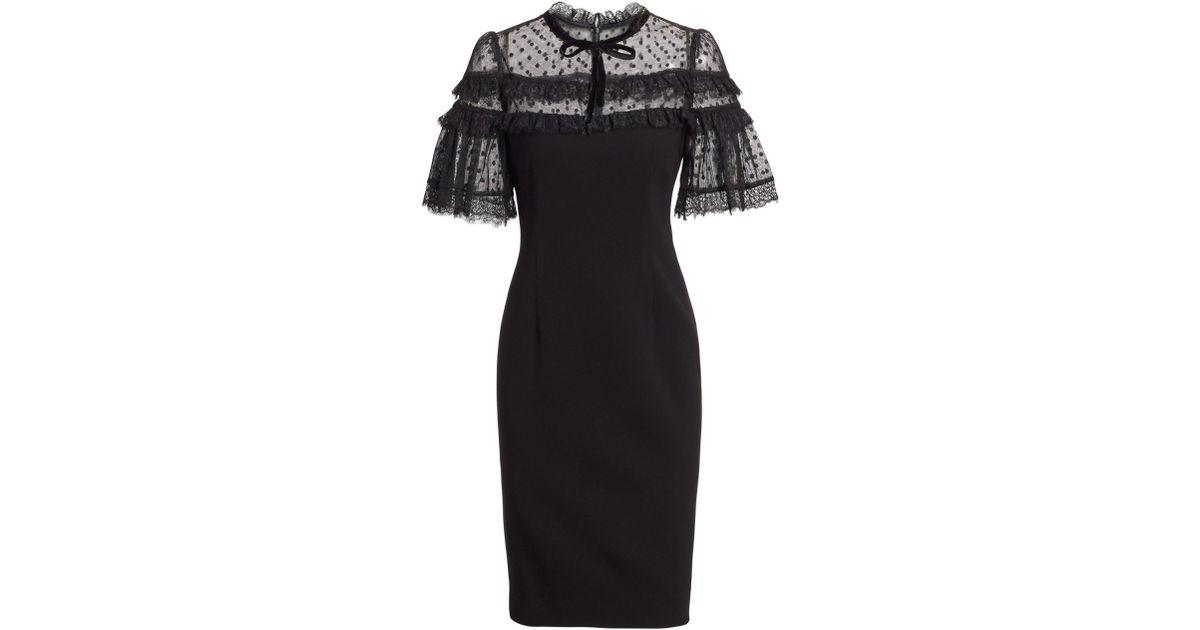 4a6266ad21c Teri Jon Women s Short-sleeve Crepe   Pointe De Spree Sheath Dress - Black  - Size 4 in Black - Lyst