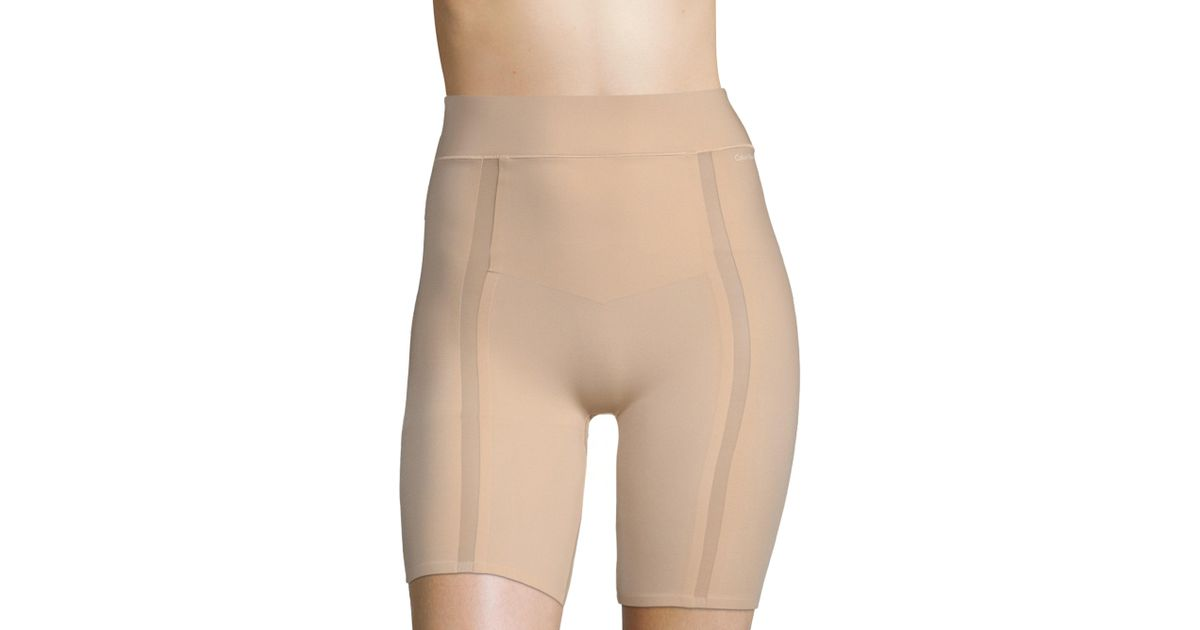 bd30b7b788 Lyst - Calvin Klein Sculpted Shapewear Thigh Shaper Shorts in Natural