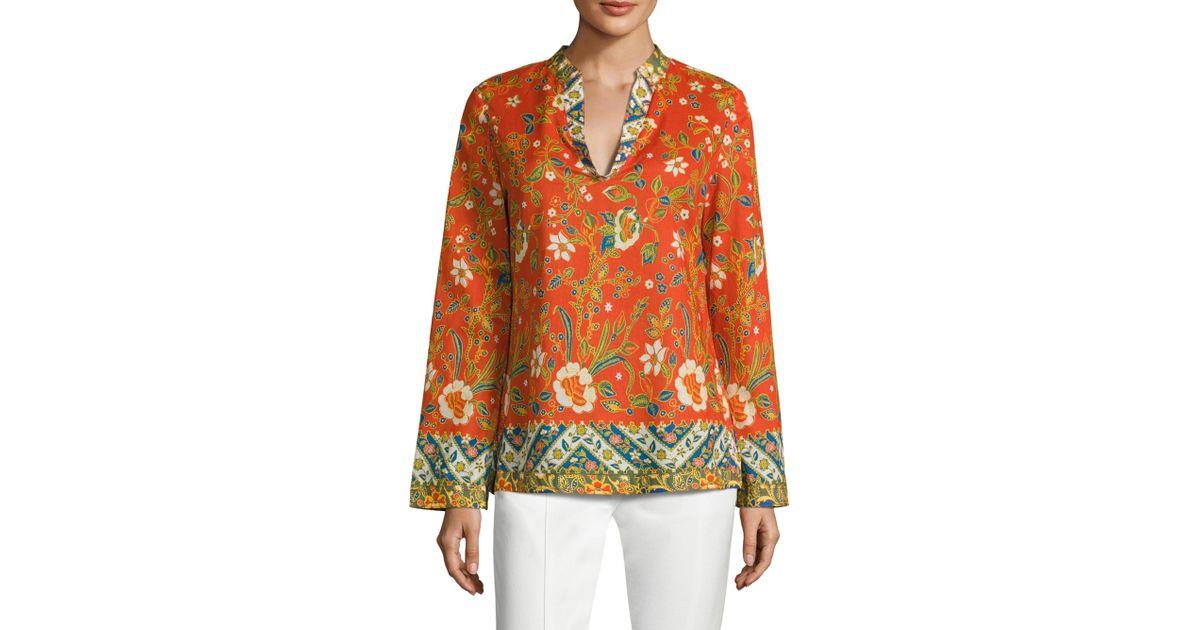 2377df3fc3c Tory Burch Stephanie Floral-print Cotton Poplin Tunic - Lyst