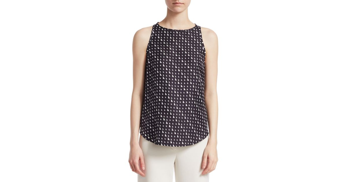 621d5fc023f Lyst - Theory Silk Racer Back Top in Black