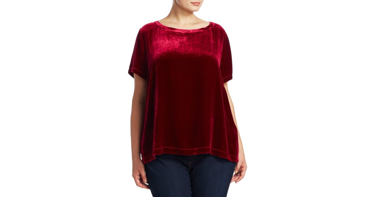 9b288d297c9 Lyst - Eileen Fisher Velvet Bateau Top in Red