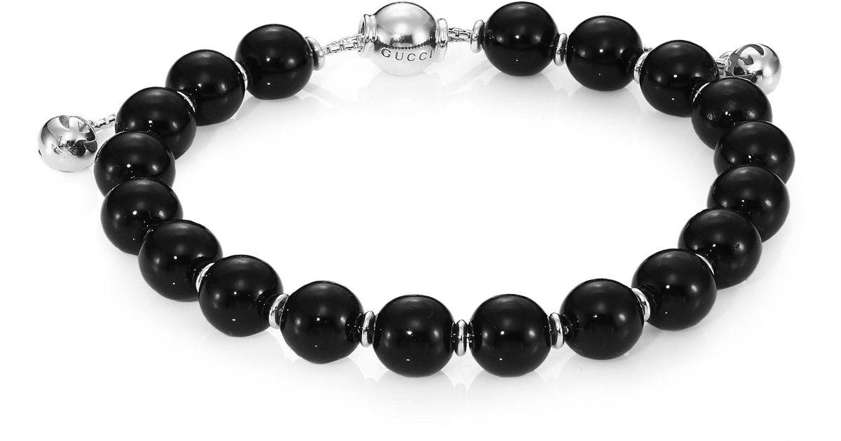 7035918ee Gucci Boule Britt Beaded Bracelet in Metallic - Lyst