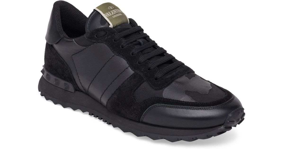 c8a4846c5977 Lyst - Valentino Noir Rockrunner Leather-blend Camo Sneakers in Black