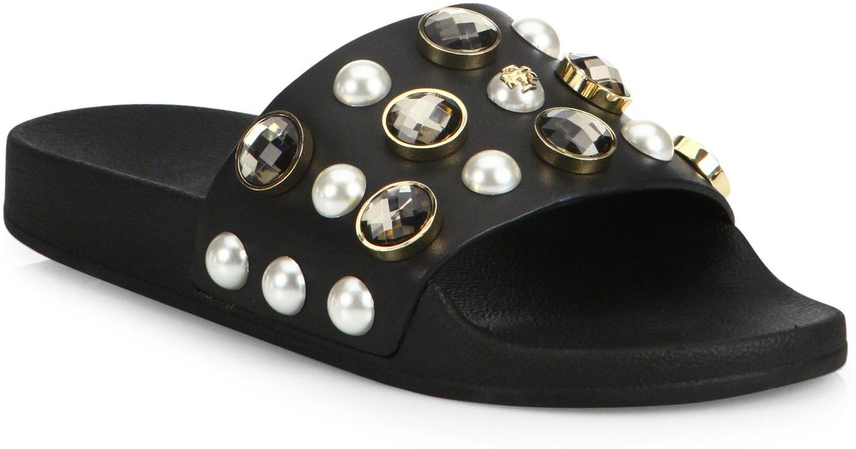 cb071c224fdd4 Lyst - Tory Burch Vail Jeweled Leather Slides in Black