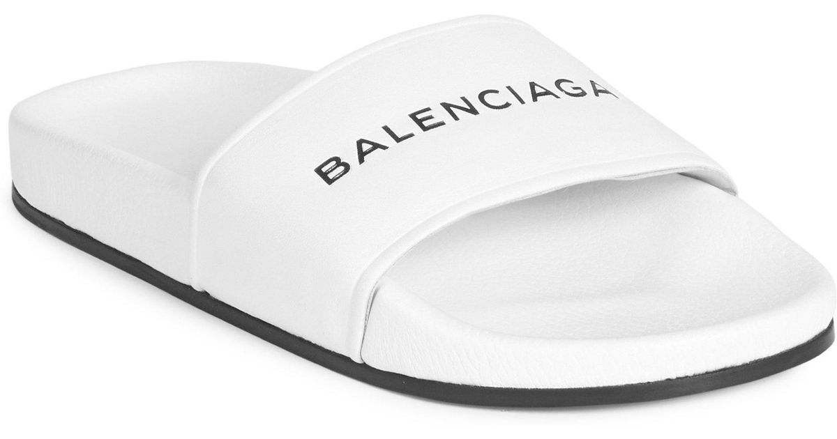 be34544e9b9d Lyst - Balenciaga Signature Leather Slides in White for Men