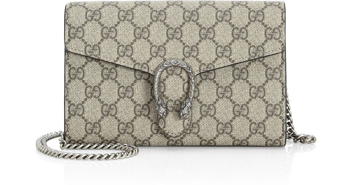 f6c4927c799 Lyst - Gucci Women s Dionysus Coated Canvas Chain-strap Wallet - Beige  Black in Black