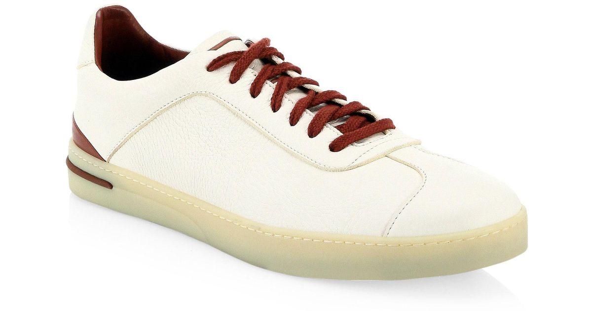 Loro Piana 70's Walk Full-grain Leather Sneakers - White Acheter Pas Cher Vue Recommander Rabais Boutique Vente En Ligne bfxcDLX