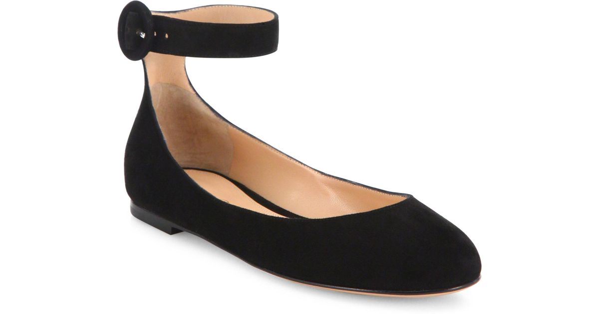 Gianvito Rossi Suede Ankle Strap Flats in . 17iHfyFsiC