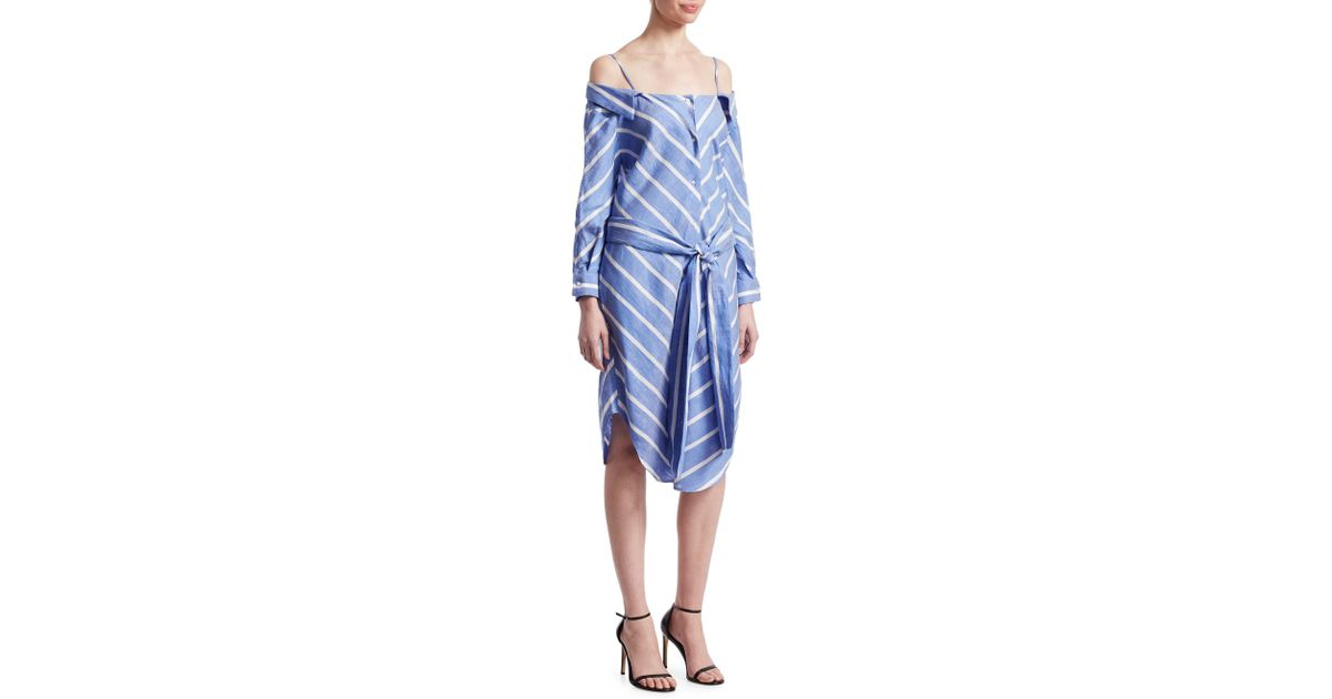 c0ef3f43f970 Lyst - Maje Rulylle Striped Off-the-shoulder Shirtdress in Blue
