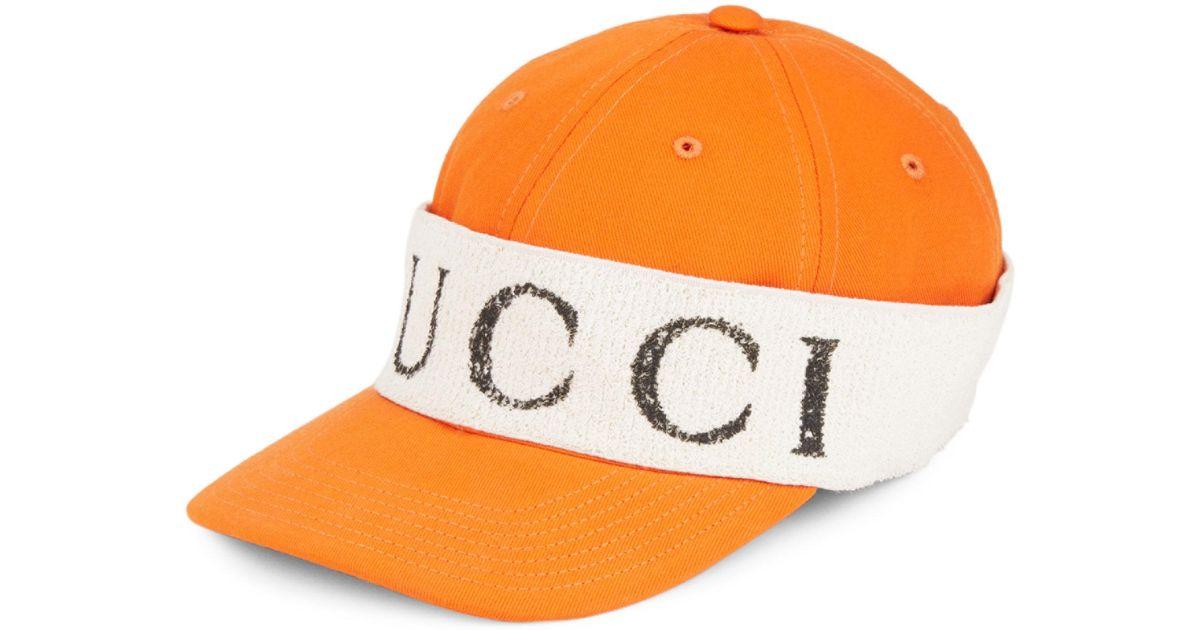 Gucci Wrap Baseball Cap in Orange for Men - Lyst be98c2aac4c