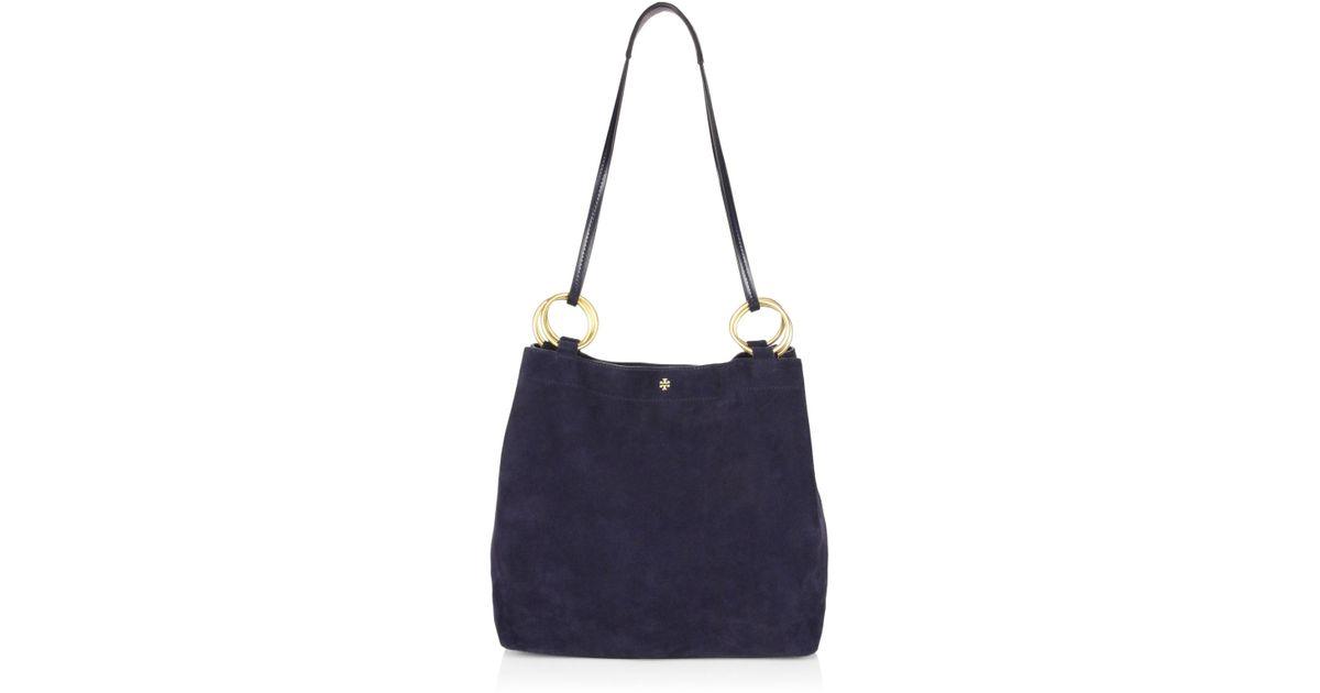 91d52afb807 Lyst - Tory Burch Farrah Suede Shoulder Bag in Blue