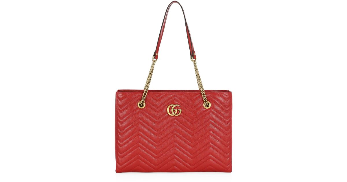 a32b83572 Gucci GG Marmont Medium Quilted Leather Shoulder Tote Bag in Red - Lyst