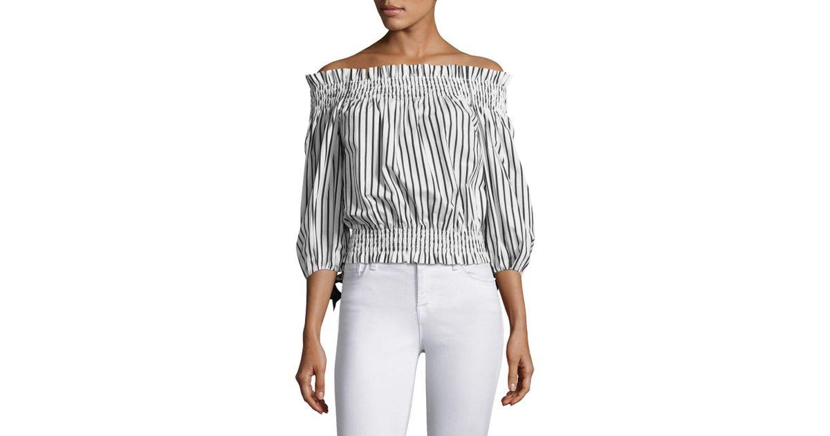 3420f4010be Caroline Constas Lou Stripe Off-shoulder Top in Black - Lyst